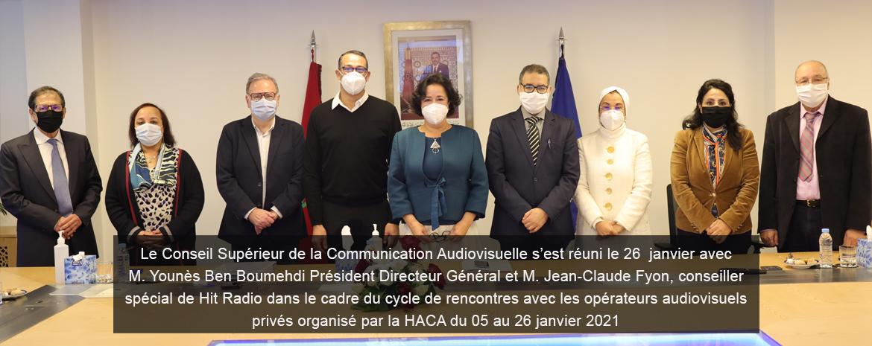 Le Conseil Supérieur de la Communication Audiovisuelle s'est réuni le 26 jan avec M. Younès Ben Boumehdi Président Directeur Général et M. Jean-Claude Fyon, conseiller spécial de Hit Radio