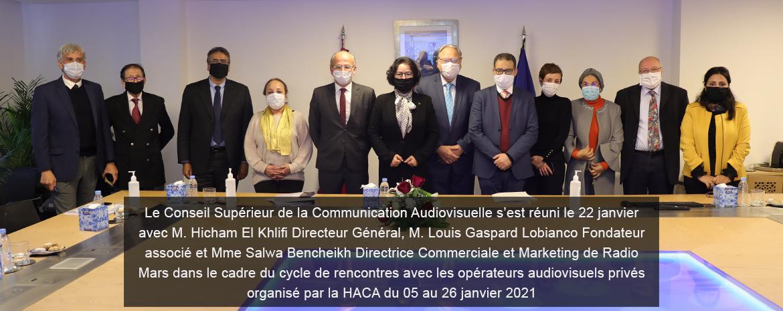 Le Conseil Supérieur de la Communication Audiovisuelle s'est réuni le 22 jan avec M. Hicham El Khlifi Directeur Général, M. Louis Gaspard Lobianco Fondateur associé et Mme Salwa Bencheikh Directrice Commerciale et Marketing de Radio Mars