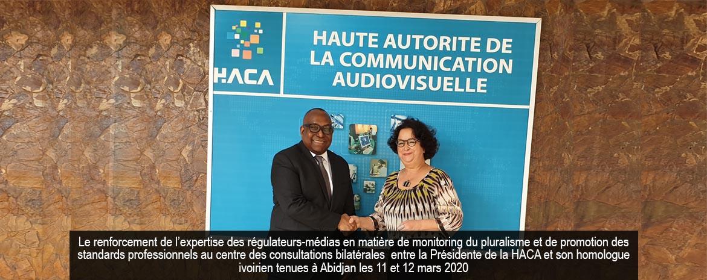Le renforcement de l'expertise des régulateurs-médias en matière de monitoring du pluralisme et de promotion des standards professionnels au centre des consultations bilatérales entre la Présidente de la HACA et son homologue ivoirien tenues à Abidjan les