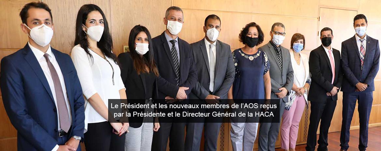 Le Président et les nouveaux membres de l'AOS reçus par la Présidente et le Directeur Général de la HACA