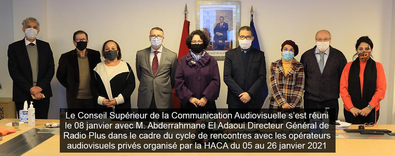 Le Conseil Supérieur de la Communication Audiovisuelle s'est réuni le 8 jan avec M.Abderrahmane El Adaoui Directeur Général de Radio Plus dans le cadre du cycle de rencontres avec les opérateurs audiovisuels privés organisé par la HACA du 5 au 26 jan 2021