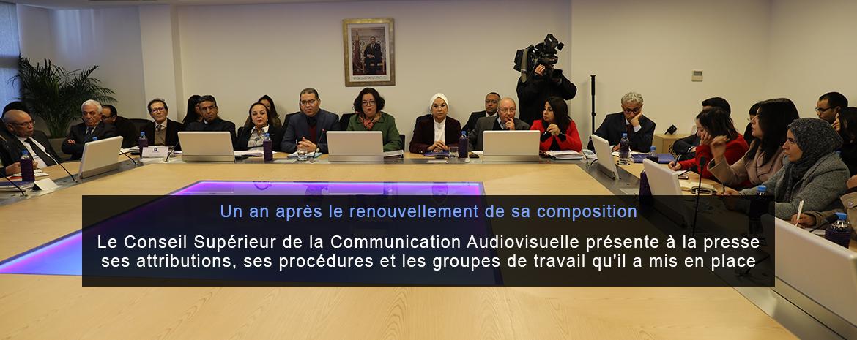 Un an après le renouvellement de sa composition Le Conseil Supérieur de la Communication Audiovisuelle présente à la presse ses attributions, ses procédures et les groupes de travail qu'il a mis en place