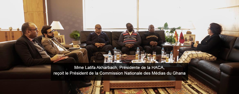 Mme Latifa Akharbach, Présidente de la HACA, reçoit le Président de la Commission Nationale des Médias du Ghana