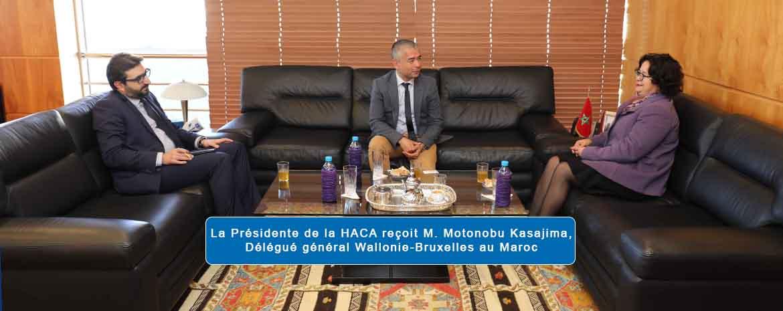 La Présidente de la HACA reçoit M. Motonobu Kasajima, Délégué général Wallonie-Bruxelles au Maroc