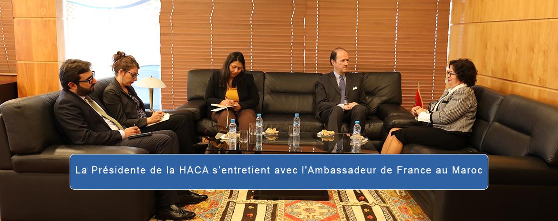 La Présidente de la HACA s'entretient avec l'Ambassadeur de France au Maroc