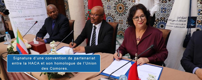 Signature d'une convention de partenariat entre la HACA et son homologue de l'Union des Comores.