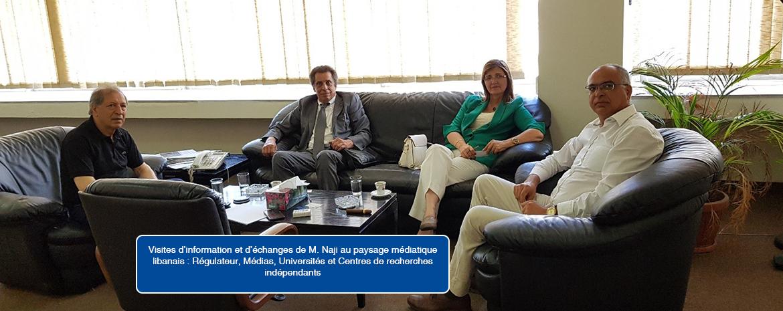 Visites d'information et d'échanges de M. Naji au paysage médiatique libanais : Régulateur, Médias, Universités et Centres de recherches indépendants