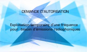 Attribution d'autorisation relative a l'exploitation temporaire d'une fréquence pour les besoins d'émissions radiophoniques au « CONSEIL NATIONAL DES DROITS DE L'HOMME »